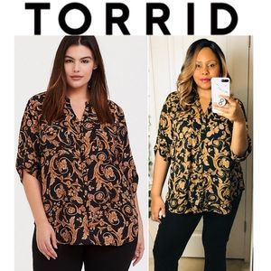 TORRID Madison Ornate Georgette Button Front Top